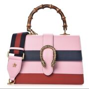 Dionysus Bamboo Top Handle Pink Blue Red Striped Leather Crossbody Bag