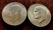 1776-1976 D Eisenhower Dollar Varieties Type 1 And Type 2 Lot Of 2 Actual Coins