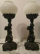Metal Cherub Matching Pair Of Lamps With White Globe Shade Antique Vintage