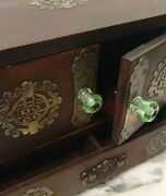 Chinese Oriental Wood Vintage Jewelry Box Metal Accents With Green Glass Knobs