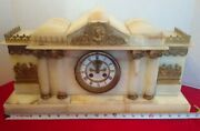 Large Ornate Eustis Brothers Antique Onyx Stone Mantle Clock Not Working