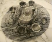 Chinese Oriental Marble Carved Dragon Tea Set Tray 6 Cups And Teapot