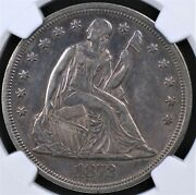 1872 With Motto Seated Liberty Dollar Ngc Au 50 Neat Glossy Plum Silver And Grey