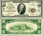 Mt. Sterling Ky 10 1929 T-1 National Bank Note Ch 6129 Traders Nb Au++