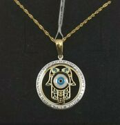 Pendant With Chain Gold 18k. Hands Of Fatima Hamsa With Eye Turkish And Pull