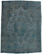 Vintage Turkish Overdyed 10and039x12and039 Blue Wool Hand-knotted Oriental Rug