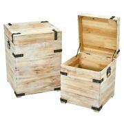 Multicolor Decorative White Wash Storage Boxes-trunks With Metal Detail Set Of