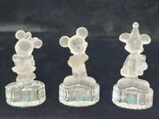 Goebel Disney Mickey Mouse Figurines Frosted Lead Crystal Lot Of 3