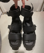 Rick Owens Black Ankle Strap Tractor Sandals. Size 7. New. Gift With Purchase