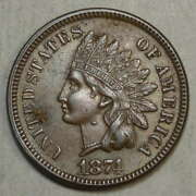 1874 Indian Cent, Choice Almost Uncirculated, Unusual Die Chip  0801-03