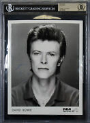 David Bowie Authentic Signed 8x10 Black And White Promotional Photo Bas Slabbed