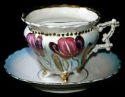 Antique Fine China Footed Mustache Cup And Saucer Hand Painted W/raised Gold C1890