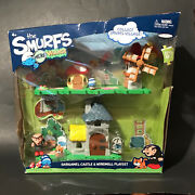 Rare 2013 The Smurfand039s Micro Village Gargamel Castle And Windmill Playset