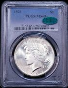 1925 Peace Silver Dollar Pcgs Ms65+ Cac Blast White Superb Frosty Luster Pq D28