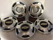 73-87 Chevy Dog Dish 10 3/4 Hubcaps Set Of 5 Truck 4x4 Gold Bow Tie