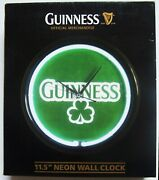 New 11 1/2 Guinness Beer Neon Wall Clock
