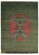 Hand-knotted Lahore Finest Collection Dark Blue Olive Wool Rug 9and03911 X 13and03910