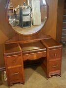 Antique Art Deco Waterfall Wood Vanity Desk With Mirror And 4 Drawers
