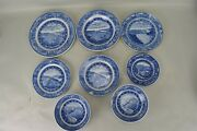 Antique Bando Railroad Transferware Blue White Dishes Set Of 8 Mixed Piece As Is