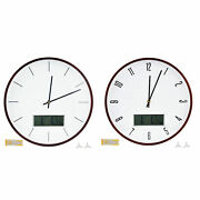 Wooden Wall Clock Digital Lcd Display Round Clock With Lunar Week Temperature H