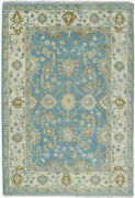 Hand Knotted 6x9 Oushak Light Blue And Beige Wool Area Rug   Trdcp1069