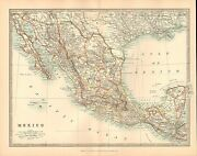 1911 Large Victorian Map Mexico Lower California Guatemala
