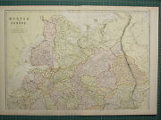 1882 Large Antique Map Russia In Europe Finland Kostroma Moscow Penza