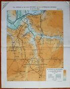 1918 Ww1 Wwi Large Map Attack 32rd Division 1st Australian Aug British Front