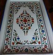 5and039x2.5and039 Marble Coffee Table Top Malachite Pietra Dura Inlay Antique Home Decor R