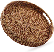 Round Rattan Woven Serving Tray With Handles Ottoman Tray For Breakfast, Drinks,