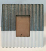 Galvanized Metal Picture Frame Wavy Silver White Easel Farmhouse Rustic For 4x6