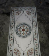 4and039x2.5and039 Marble Table Top Inlay Floral Semi Precious Stones Handmade Home Decor 7