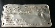 Vintage Rare Willys 5 X 2.5 Inches Metal Vehicle Data Plate Jeepandnbsp