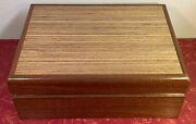Vintage Hand Crafted Wooden Cigar Humidor Signed Marked