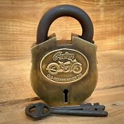 Indian Motorcycles Lock, Solid Brass, Old Indians Never Die Tag, Antique Finish