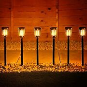 6pk Mini Solar Tiki Torches With Dancing Flickering Flame Outdoor Solar Lights