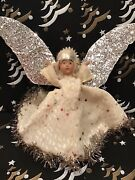 Unusual 1930s Antique Noma Angel Composite Christmas Tree Topper Metal Halo