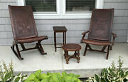Vintage Pair Peru Aztec Motif Embossed Leather And Wood Folding Chairs Stool......