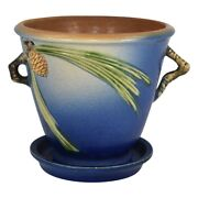 Roseville Pottery Pine Cone 1936 Blue Flower Pot And Saucer 633-5