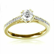 1.24 Ct Diamond Ring Solitaire + Side Stones 18 Kt Yellow Gold Size 6.5 8 9