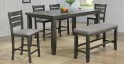 Grey Finish 6pc Beautiful Wooden Dining Room Home Kitchen Table Chair Bench Set