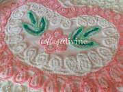 Sweet Hearts Candy Pink Frosting Vintage Chenille Bedspread Quilt Fabric Piece