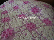 Birthday Cake Frosted Violets On Lilac Vtg 1950s Cotton Chenille Bedspread Full