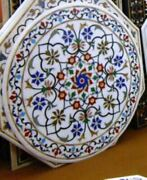4and039 White Marble Coffee Center Table Top Rare Inlay Pietra Mosaic Home Decor Iui