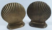 """Vintage Art Deco Solid Brass Scalloped Clam Shell Bookends 5""""x5 Nautical Beach"""