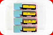 N Scale Vt Virginia Truckee Overton Passenger 4-car Set, Roundhouse Mtl Couplers