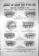 Old Print Cast-iron Door Window Heads Adverts Thorncliffe Sheffield 1871 19th