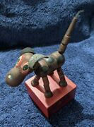Vintage Wooden Dog String Puppet Push Button Swedish Toy Co. Beverly Mass Trix