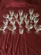 Set 20 Vtg Waterford Crystal Glasses Water, Wine, Martini, Low Ball, Signed Euc