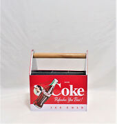 Coca-cola Utensil Caddy Tin Metal Carrier - Coke Refreshes You Best